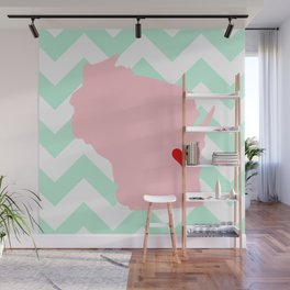 Oshkosh and Fond Du Lac, Wisconsin in Pink on Mint Chevron Wall Mural