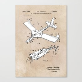 patent art Anderson Toy airplane with folding wings having tabs 1968 Canvas Print