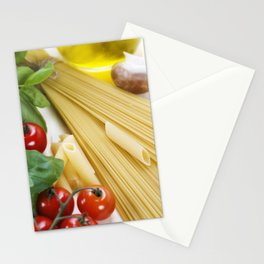 Italian Pasta with tomatoes, mushrooms, olive oil and basil Stationery Cards