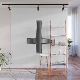 An inverted cross- The Cross of Saint Peter used as an anti-Christian and Satanist symbol Wall Mural