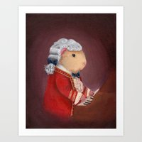 mozart Art Prints featuring Guinea Pig Mozart by When Guinea Pigs Fly