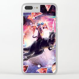 Thug Space Cat On Dinosaur Unicorn - Pizza Clear iPhone Case
