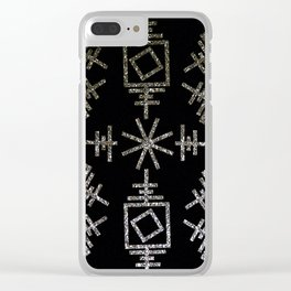 Gold-Silver Sqaures & Lines Clear iPhone Case