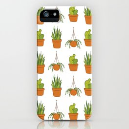 Potted plants pattern on white iPhone Case