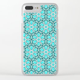 Symmetrical Flower Pattern in Turquoise Clear iPhone Case