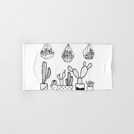 Cactus Garden Black and White Hand & Bath Towel