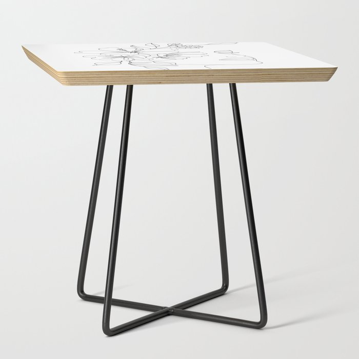 Minimal_Line_Art_Woman_Face_II_Side_Table_by_Nadja__Black__Square
