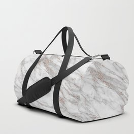Pink Rose Gold Blush Metallic Glitter Foil on Gray Marble Duffle Bag