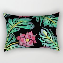 black tropical watercolor floral Rectangular Pillow