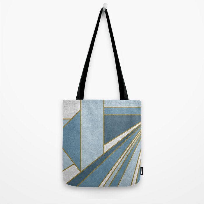 Travel to nowhere in blue (abstract geometric marble) Tote Bag
