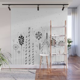 Garden of Candy Flowers Ink Illustration Wall Mural