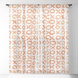 Xoxo valentine's day - orange Sheer Curtain