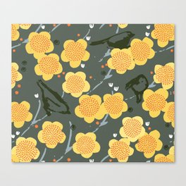 Birds & Blooms M+M Stone by Friztin Canvas Print