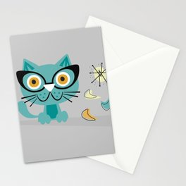 1950s Atomic Age Mid Century Modern Kitty Cat Stationery Cards