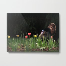 Turkey In The Tulips Metal Print