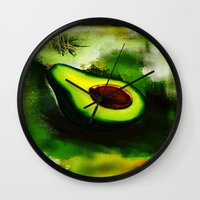 avocado Wall Clocks featuring Avocado by Marven RELOADED