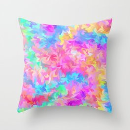 smudged rainbow Throw Pillow