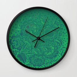 Flower background in green and gradient color, ready for clothes, furniture, cases Wall Clock