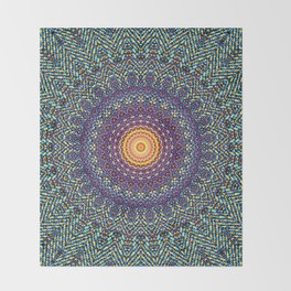 Happy Sun Circle Bohemian Geometric Thread Weave Pattern \\ Yellow Green Blue Purple Color Scheme Throw Blanket