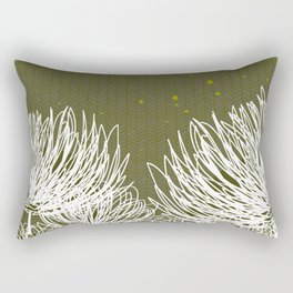 Olive Doodle Floral by Friztin Rectangular Pillow
