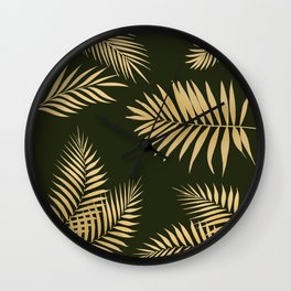Golden and Green Palm Leaves Wall Clock