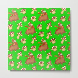 Cute happy llamas and funny little mushrooms green seamless pattern design Metal Print