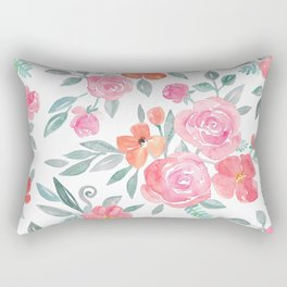Amelia Floral in Pink and Peach Watercolor Rectangular Pillow