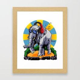 Hipster Elephant | Cool Glasses Headphones Swag Framed Art Print