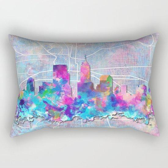 indianapolis city skyline watercolor 2 Rectangular Pillow