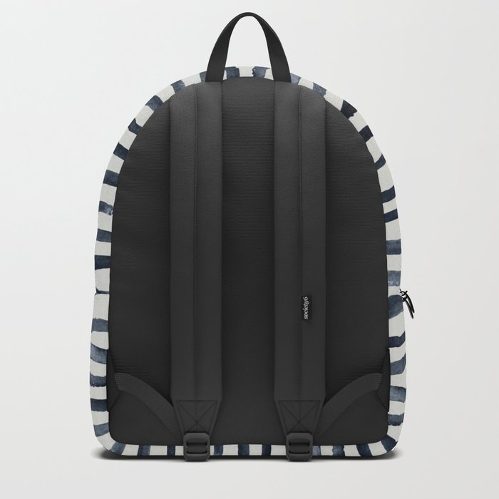 Simply Shibori Stripes Indigo Blue on Lunar Gray Backpack