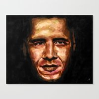 obama Canvas Prints featuring Obama by Tetevi Teteh