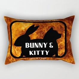 Bunny and Kitty Two of a Kind Rectangular Pillow