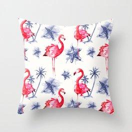 Beach Flamingos Throw Pillow