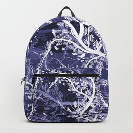 Abstract violet white hand painted birds leaves floral pattern Backpack