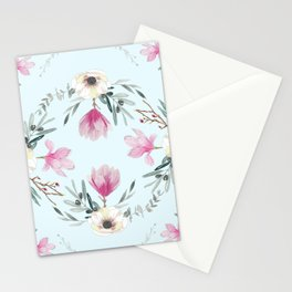 Floral Square Acqua Stationery Cards