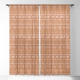 Scandinavian Christmas in Orange Sheer Curtain