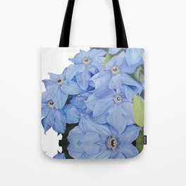 Blue Clematis Flowers on Knotted Fence Post Tote Bag