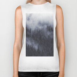 Foggy forest landscape, nature art Biker Tank