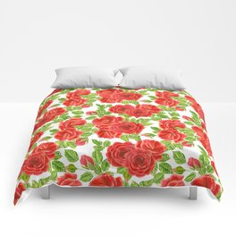 Red roses watercolor seamless pattern Comforters