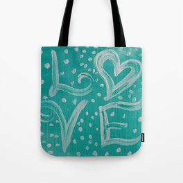 Teal Love Heart Tote Bag