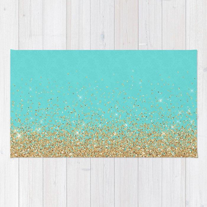 Sparkling Gold Glitter Confetti On Aqua Teal Damask
