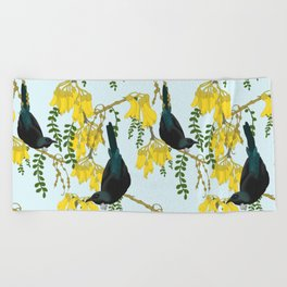 Tuis in the Kowhai Flowers Beach Towel