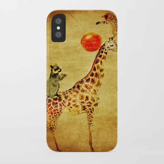 By playing on the giraffe iPhone Case