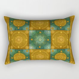 """Moroccan chess Celestial & Ocher Pattern"" Rectangular Pillow"