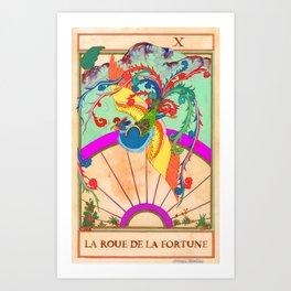 Tarot Card-The Wheel of Fortune-La Roue de la Fortune Art Print