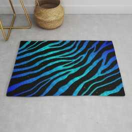 Ripped SpaceTime Stripes - Blue/Cyan Rug