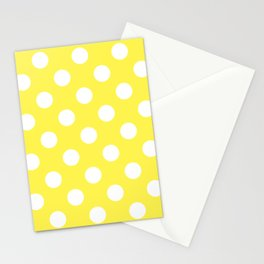 Lemon yellow - yellow - White Polka Dots - Pois Pattern Stationery Cards