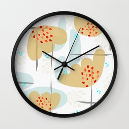 Organic Minimal Flowers and Leaves Shapes Wall Clock