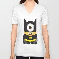 superheros V-neck T-shirts featuring Minion - Superheros B by Antonia Elena