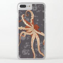 Rad Orange Octopus Clear iPhone Case